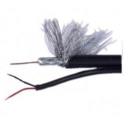 Cable RG59 coaxil siames 90% al-+2x0.5mm x rollo 300