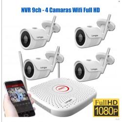 Kit Longse 4 Camaras IP WIFI 2Mpx con NVR de 9 Canales, H265+ Apto...
