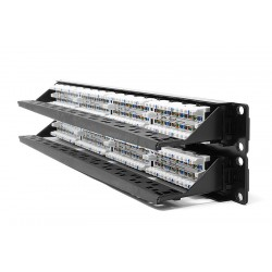 Patchpanel Cat 5e HellermannTyton 2U‐48ports completo (patchera)