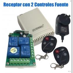 Kit Control Remoto de 4 canales ZUDSEC con 2 Controles y Fuente