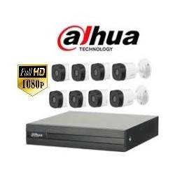 Kit DVR DAHUA 8 CH + 8 Cámaras Bullets DAHUA Plásticas + Accesorios...