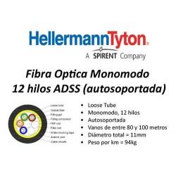Fibra óptica 12 pelos Hellermann tyton ADSS  (para vano de 120 metros)