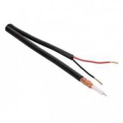 Cable minicoaxial negro RG59  + Alimentación x rollo 100 Mt....