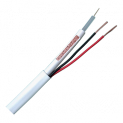 Cable minicoaxial Blanco RG59  + Alimentación x rollo 100 Mt....