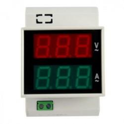 Voltimetro-Amperimetro Riel-Din GF-100VA